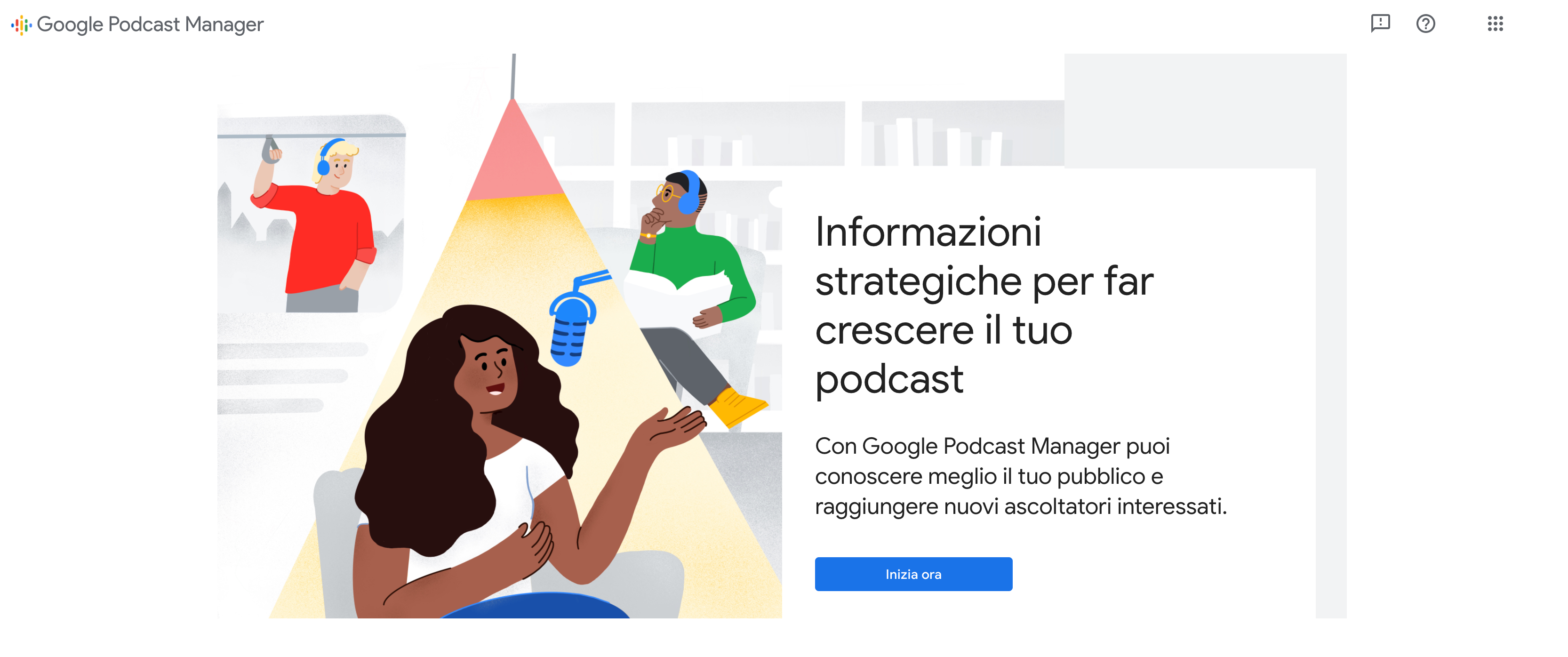 Home page Google Podcast Manager