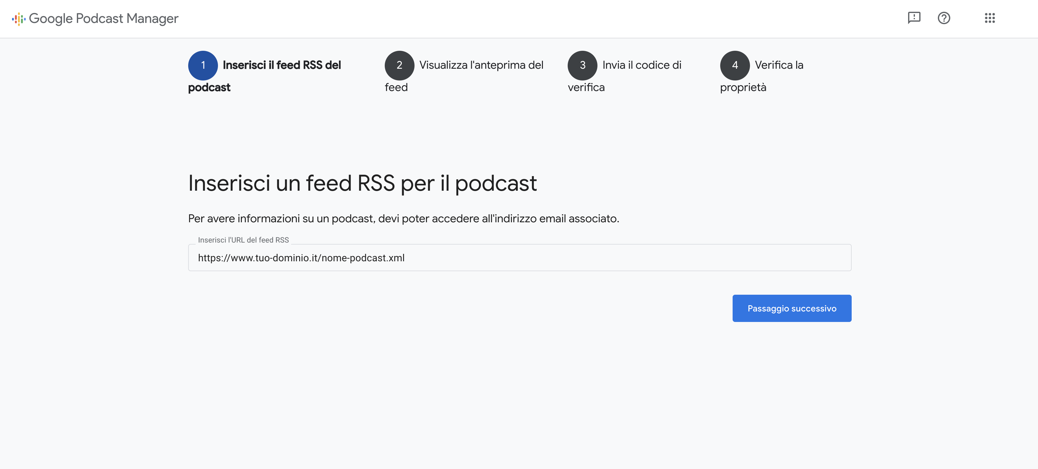 Caricamento feed Google Podcast Manager