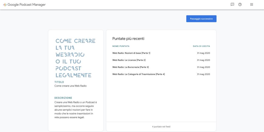 Riepilogo informazioni Google Podcast Manager