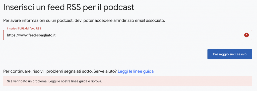 Errore Google Podcast Manager